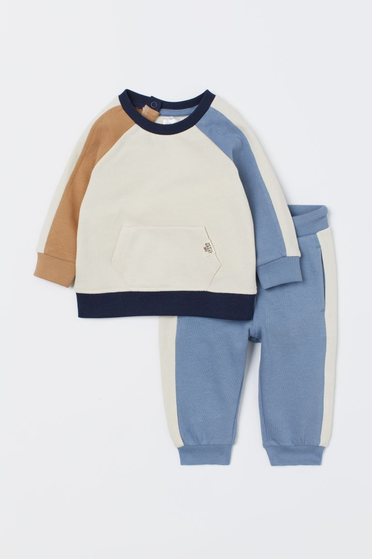 Sweat et pantalon jogger - Bleu/color block - ENFANT | H&M FR