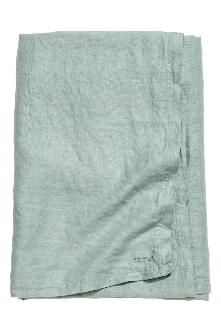 Washed Linen Tablecloth - Dusky green - Home All | H&M CA