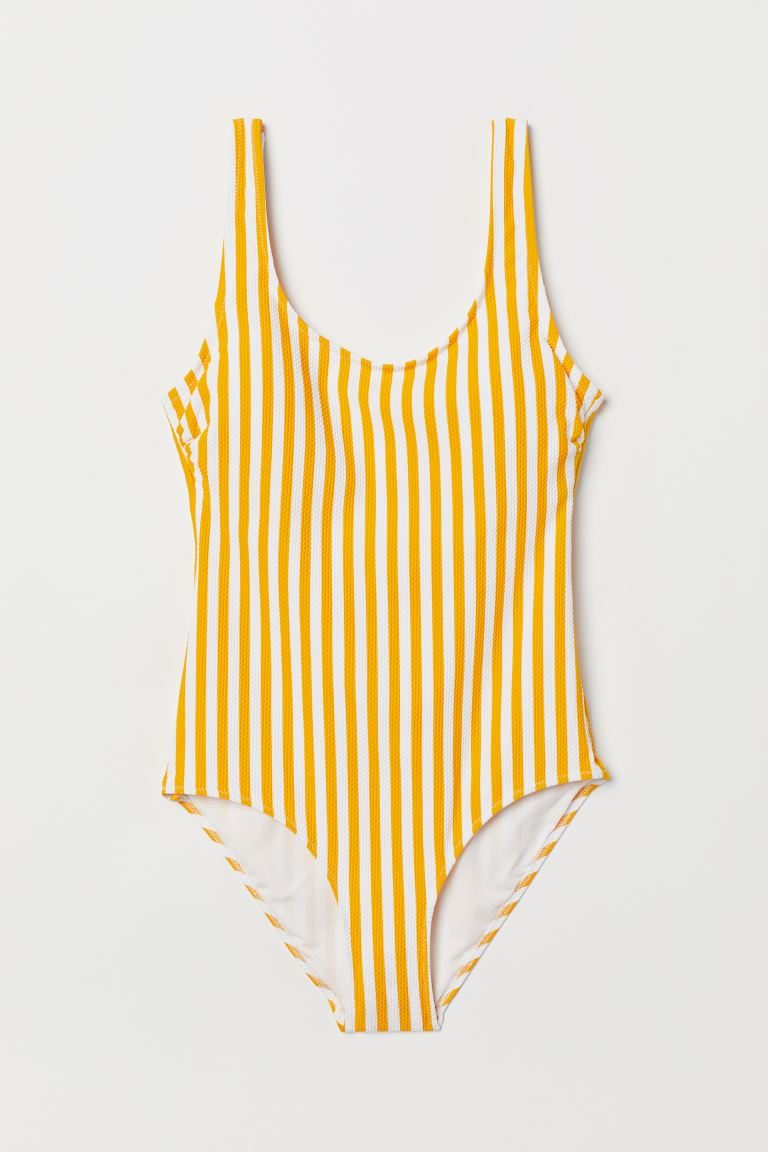 Swimsuit with Padded Cups - Yellow/white striped - Ladies | H&M US