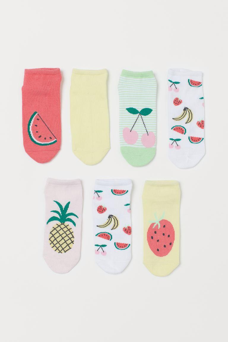 7-pack trainer socks - Light pink/Fruit - Kids   H&M GB