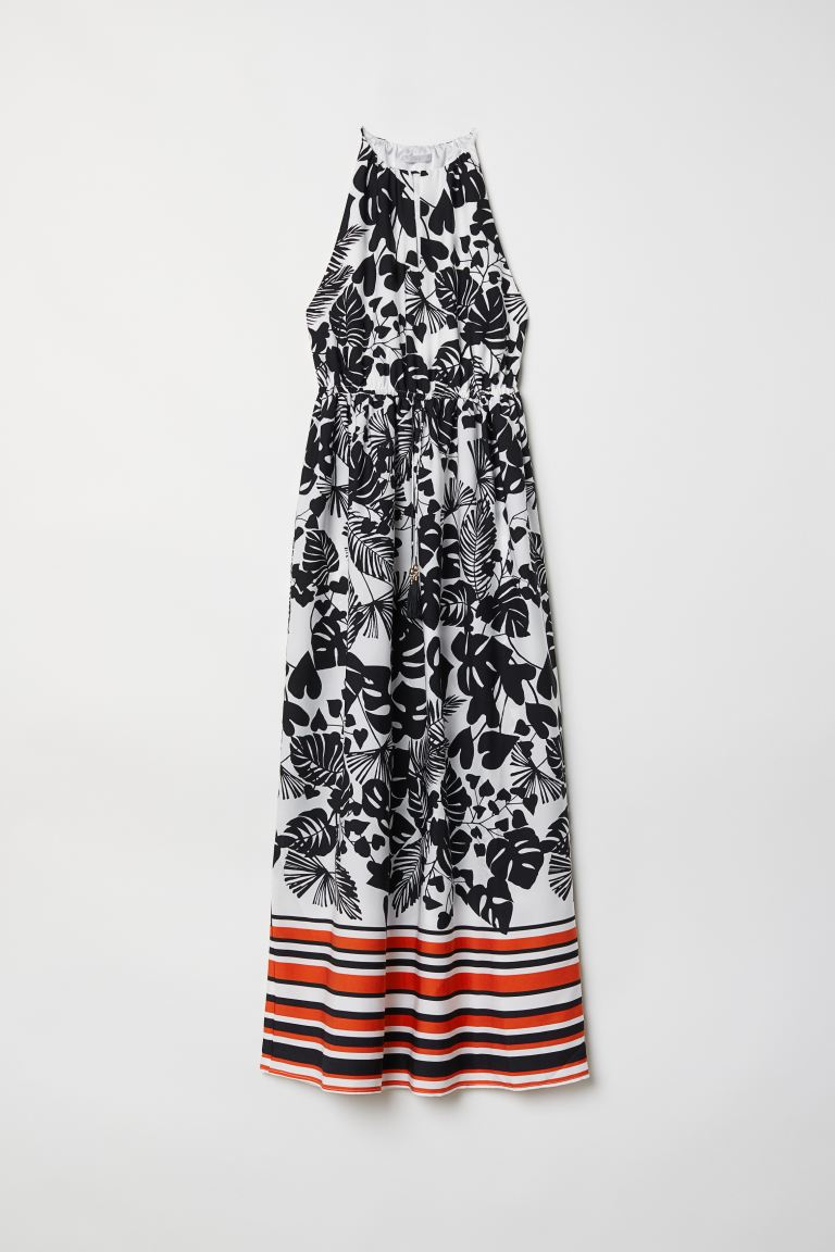 Goede Sleeveless maxi dress - White/Black patterned - Ladies | H&M IN WY-72