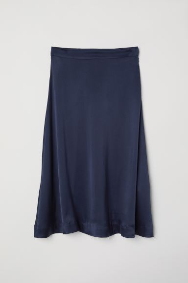 Silk-blend Skirt - Dark blue - Ladies | H&M US
