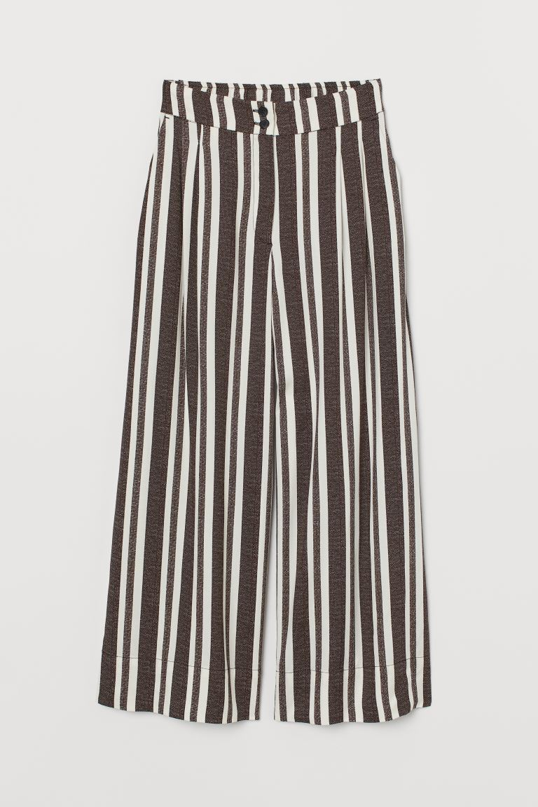 Ankle-length trousers - Dark brown/White striped - Ladies | H&M