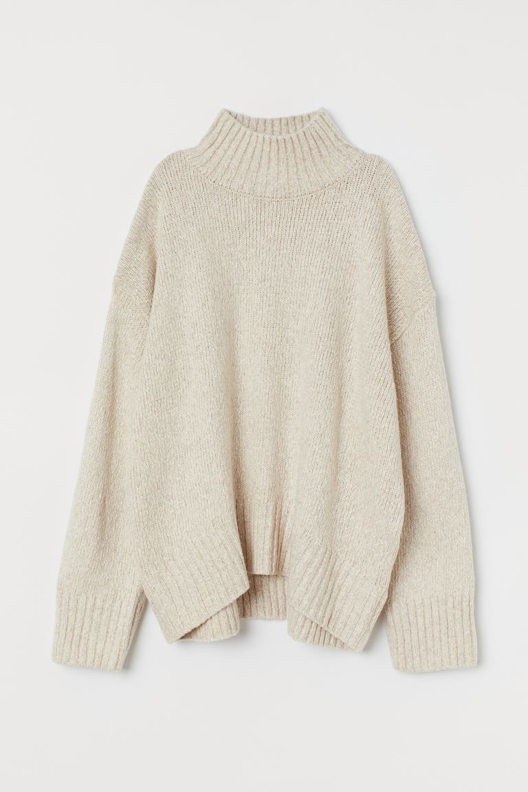 Oversized turtleneck jumper - Light beige marl - Ladies | H&M IN