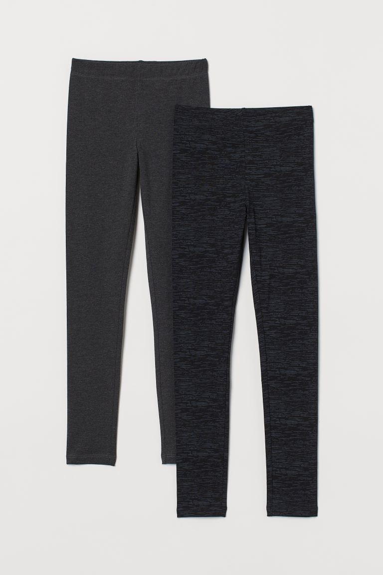 Leggings, lot de 2 - Noir/chiné - ENFANT | H&M FR