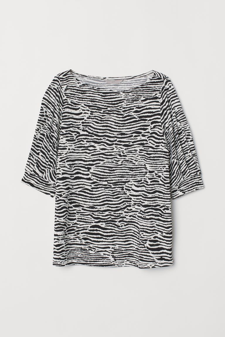 Jersey crêpe top - White/Zebra print - Ladies | H&M GB