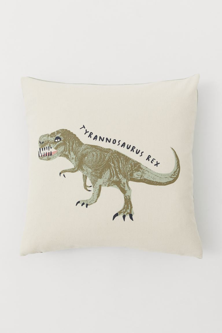 Cotton twill cushion cover - Nat. white/Tyrannosaurus Rex - Home All | H&M IE