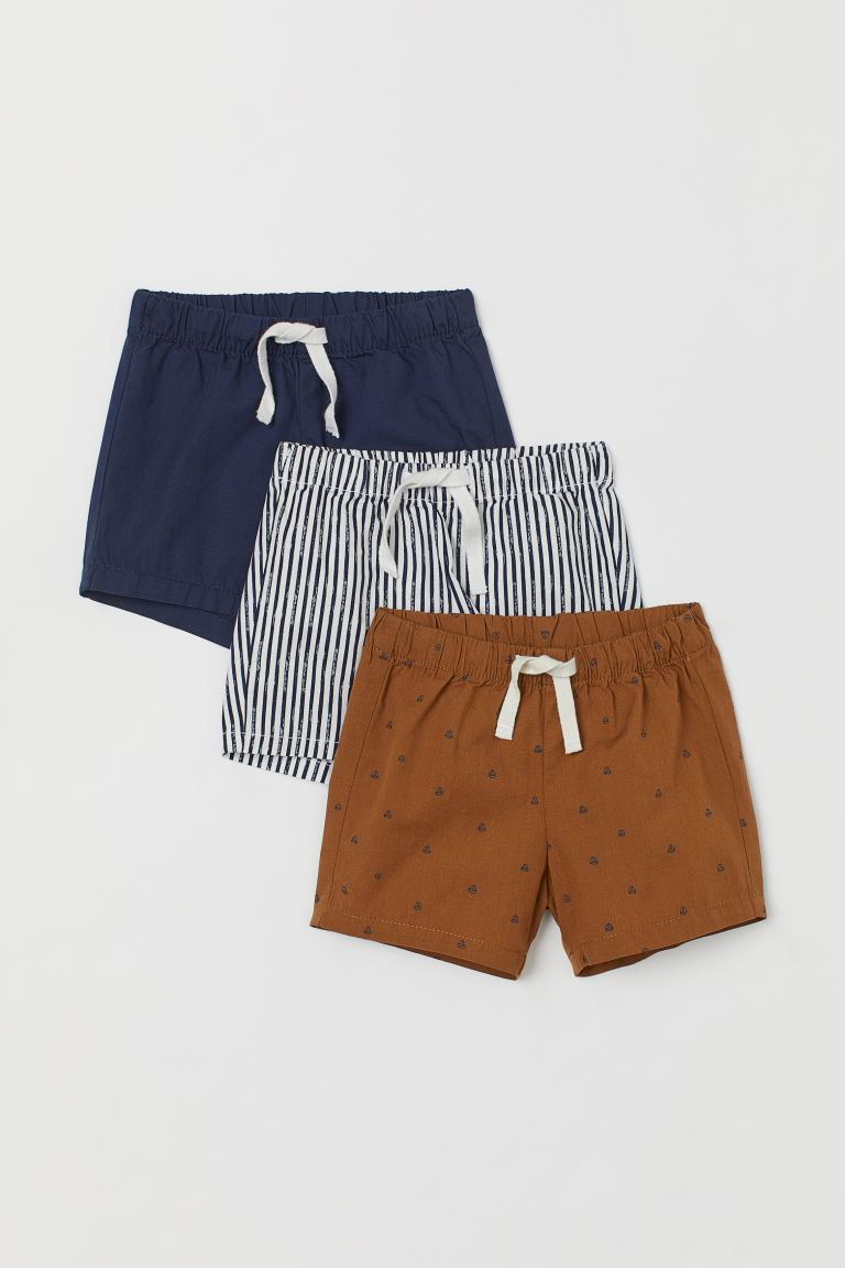 3-pack cotton shorts - Dark blue/Sailing boats - Kids | H&M