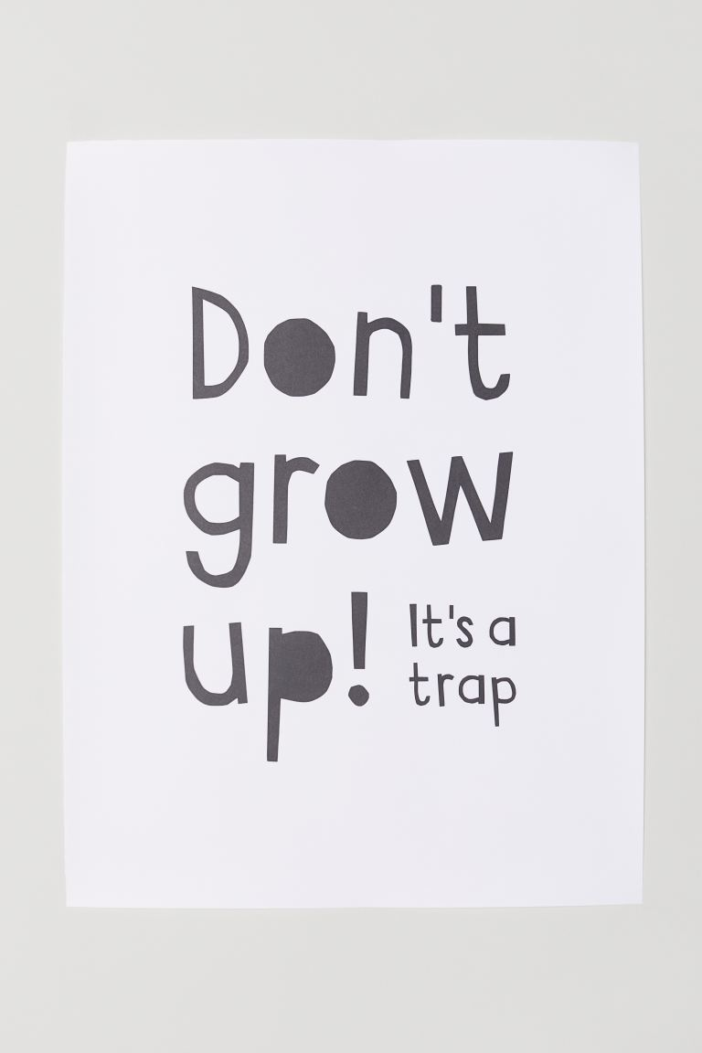 Poster - Beyaz/Don't Grow Up - Home All | H&M TR