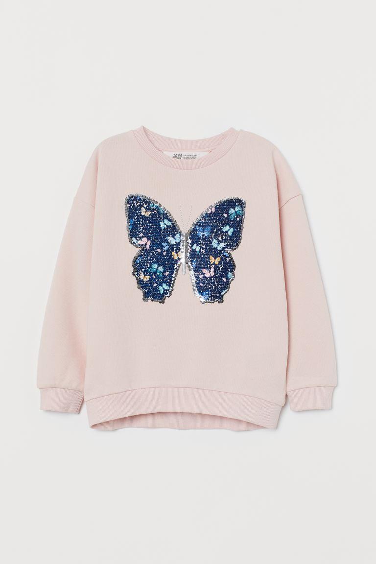 Sweatshirt with a motif - Light pink/Butterfly - Kids | H&M GB