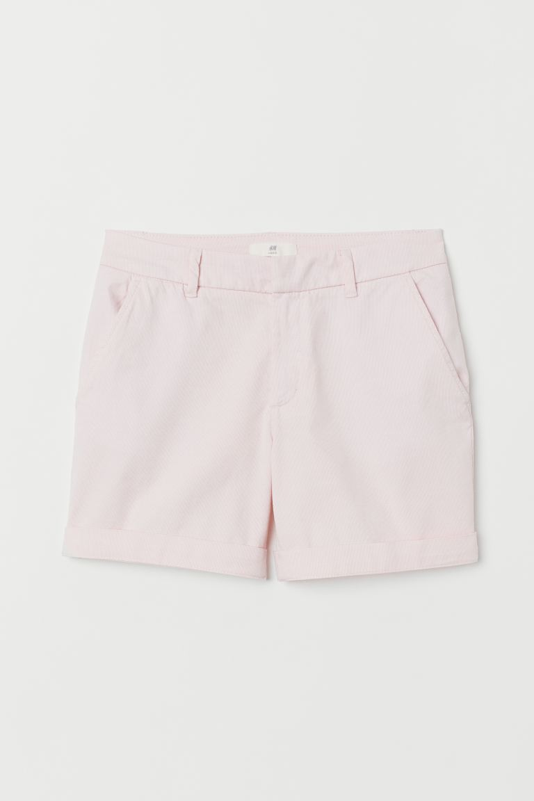 Short Chino Shorts - Light pink/narrow-striped - Ladies | H&M US