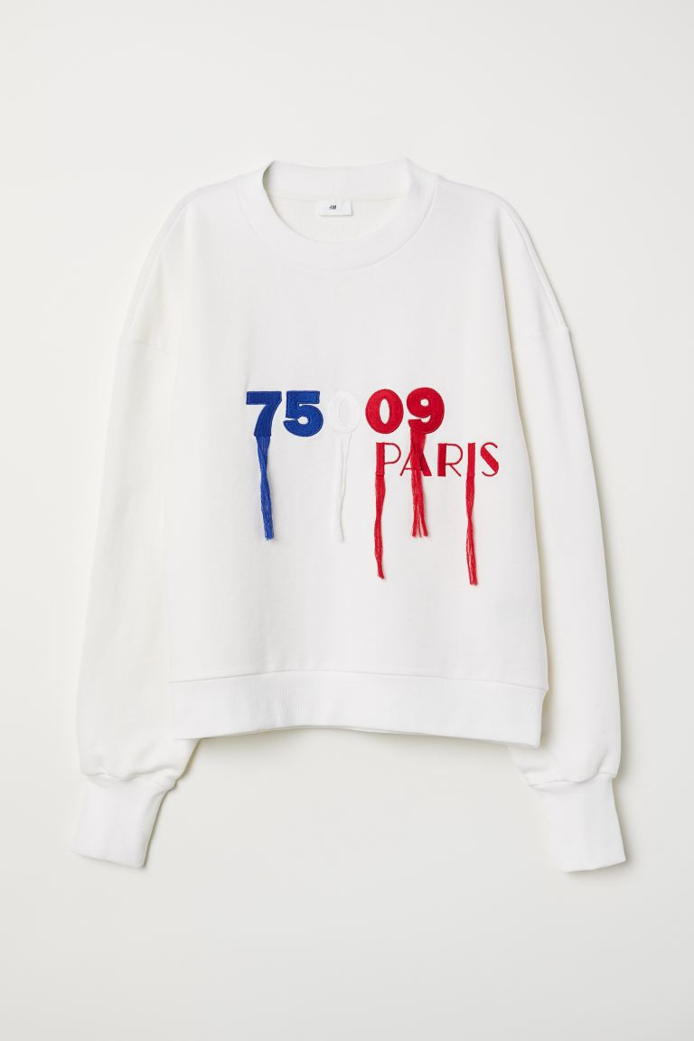 Sweatshirt with embroidery - White - Ladies | H&M