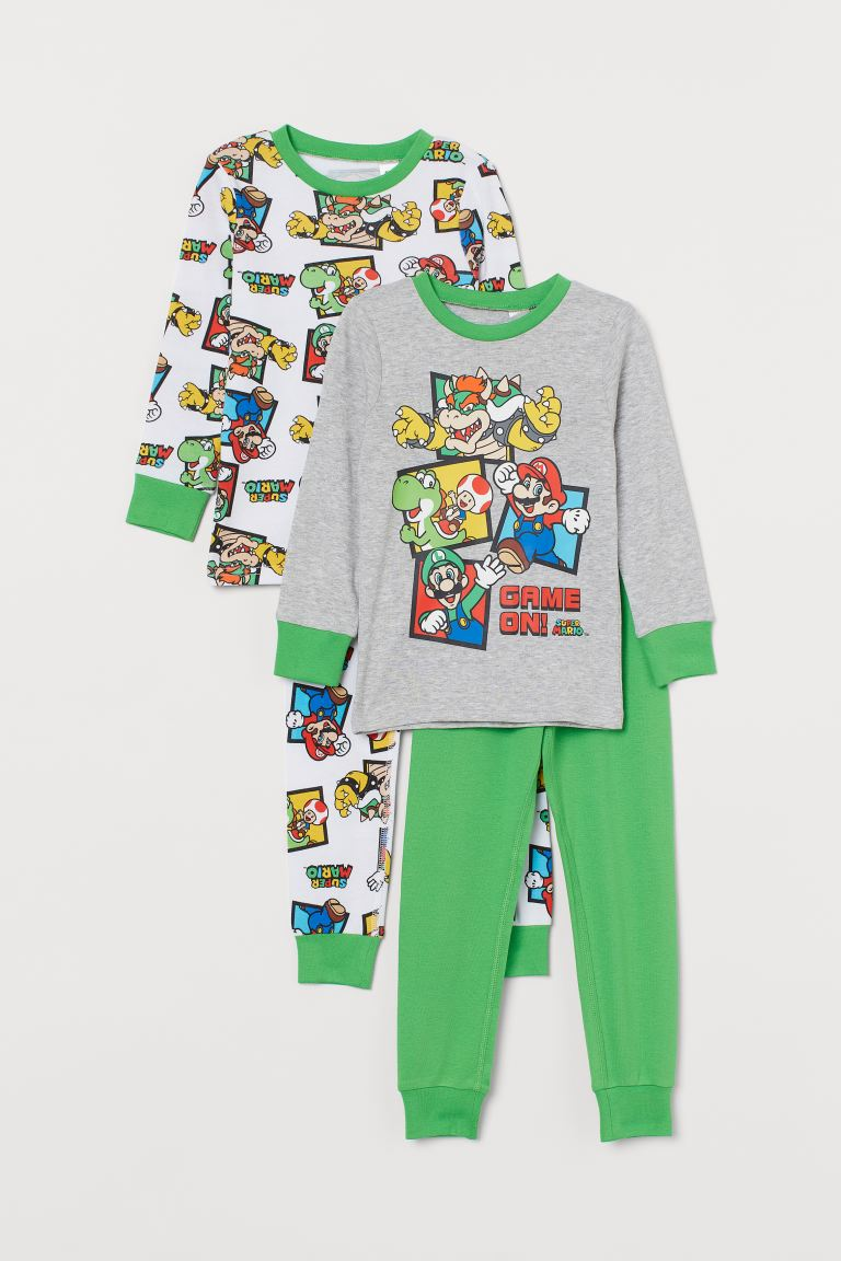 Pyjamas, lot de 2 - Gris clair chiné/Super Mario - ENFANT | H&M CH