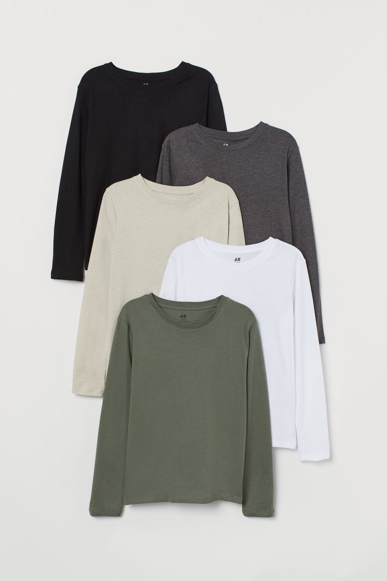 5-pack jersey tops - Khaki green/Black - Kids | H&M