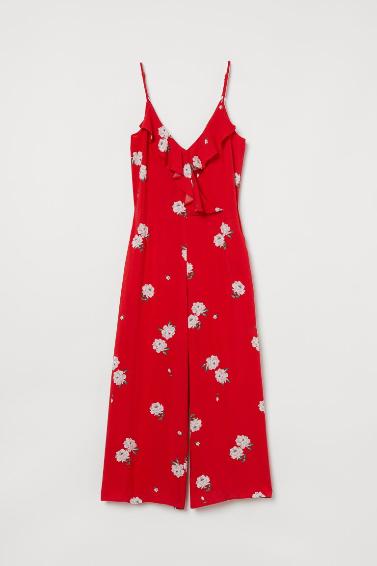Ankle-length jumpsuit - Red/Roses - Ladies | H&M GB