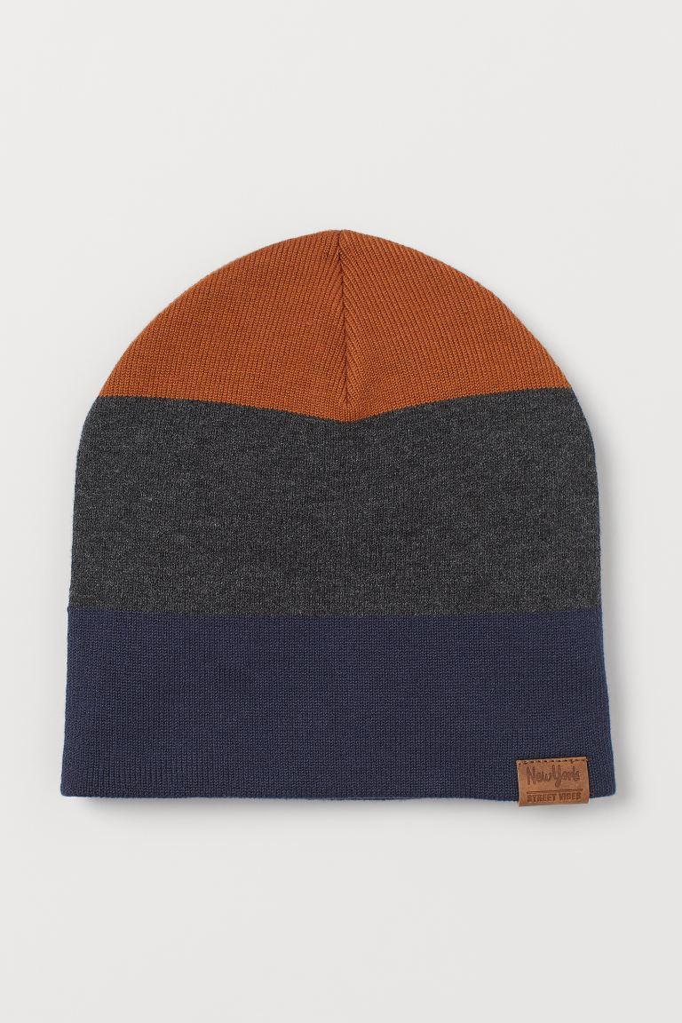 Fine-knit hat - Brown/Dark grey - Kids | H&M GB