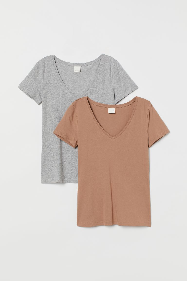 2-pack V-neck T-shirts - Beige/light gray melange - Ladies | H&M US