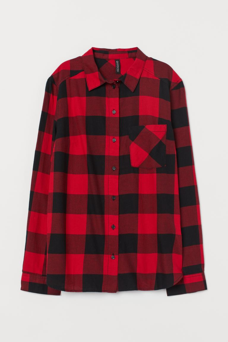 Cotton shirt - Red/Checked - Ladies | H&M GB