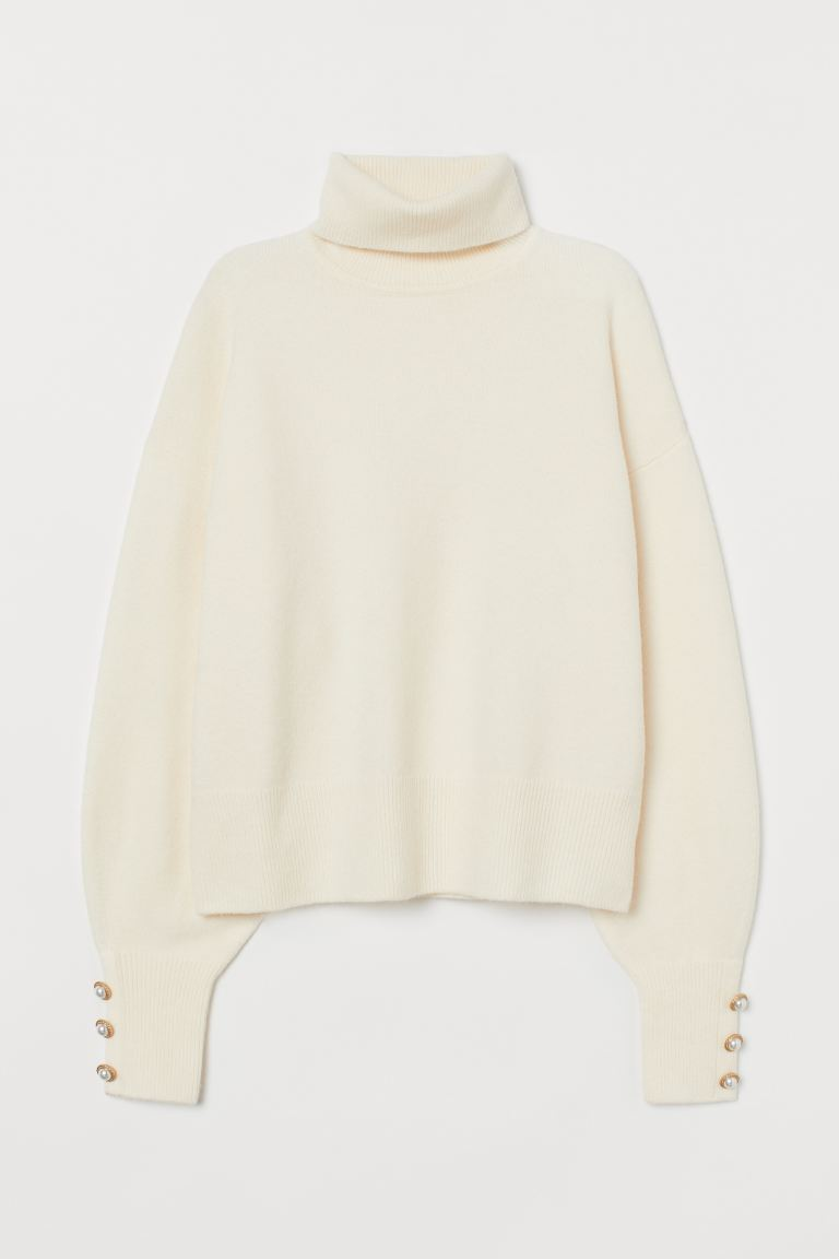 Fine-knit Turtleneck Sweater - Cream - Ladies | H&M CA