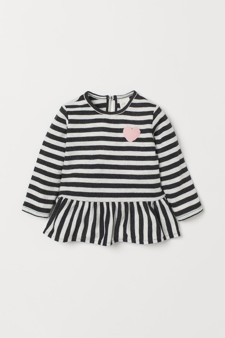 Top with Flounce - Dark gray/striped - Kids | H&M CA
