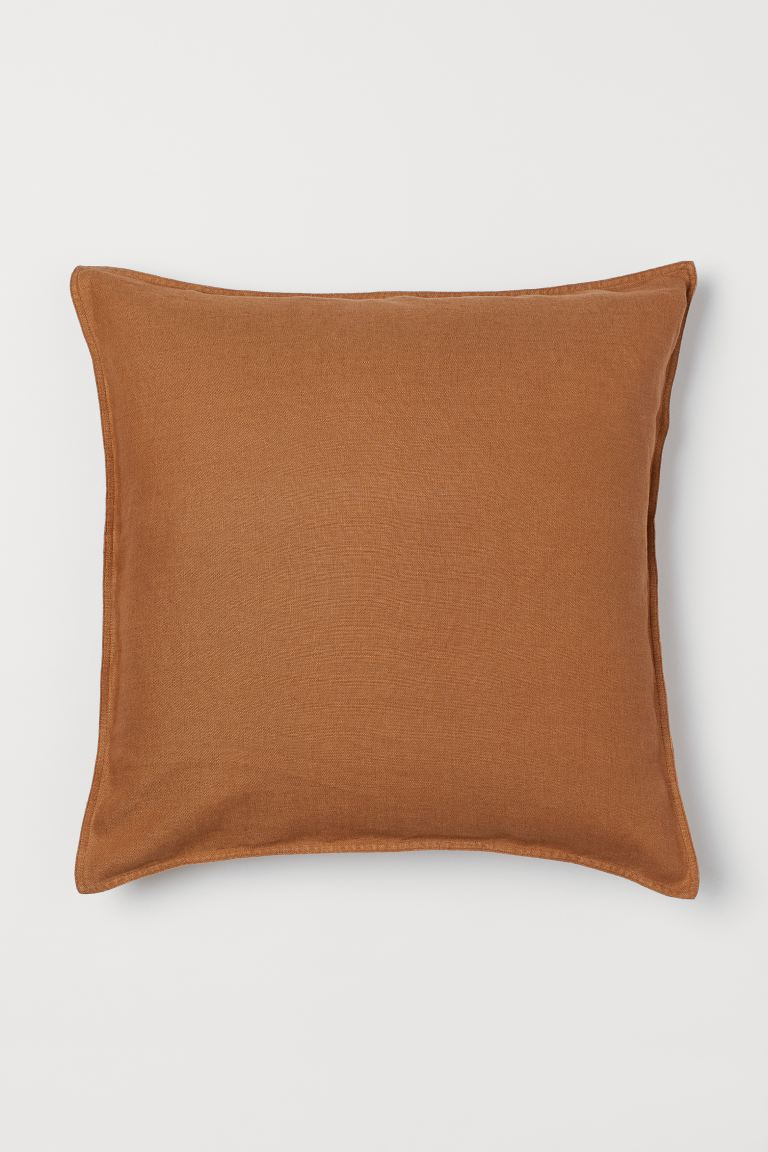 Washed linen cushion cover - Brown - Home All | H&M GB