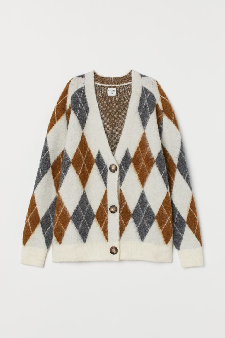 Jacquard-knit Cardigan - Cream/argyle - Ladies | H&M US