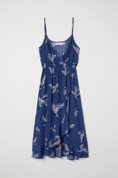 Patterned Wrap-front Dress - Dark blue/patterned - Ladies | H&M CA
