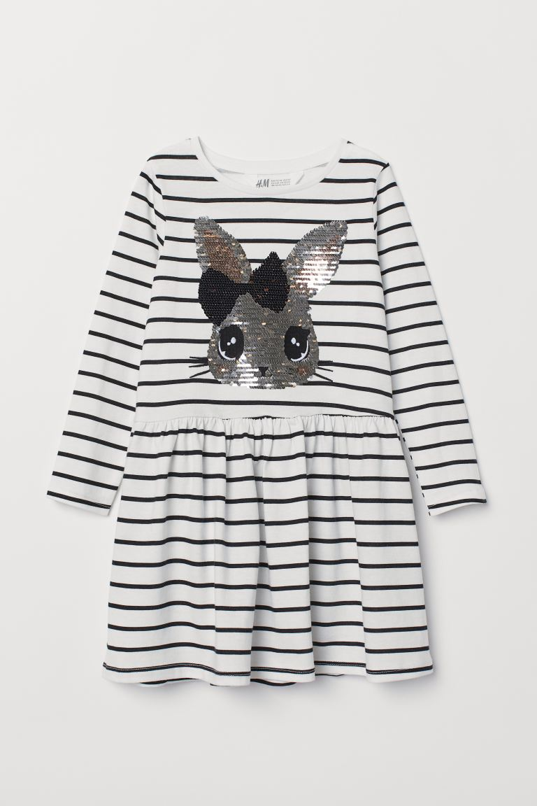 Dress with Sequins - White/rabbit - Kids | H&M US