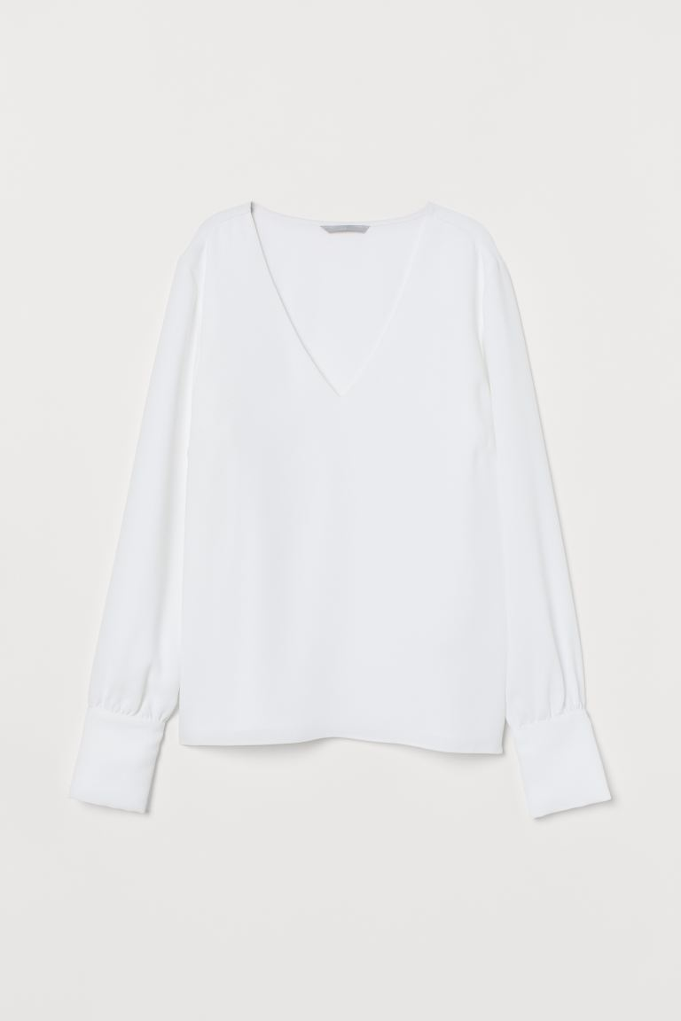 V-neck Blouse - White - Ladies | H&M CA