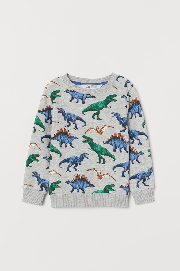 Patterned sweatshirt - Grey marl/Dinosaurs -    H&M GB