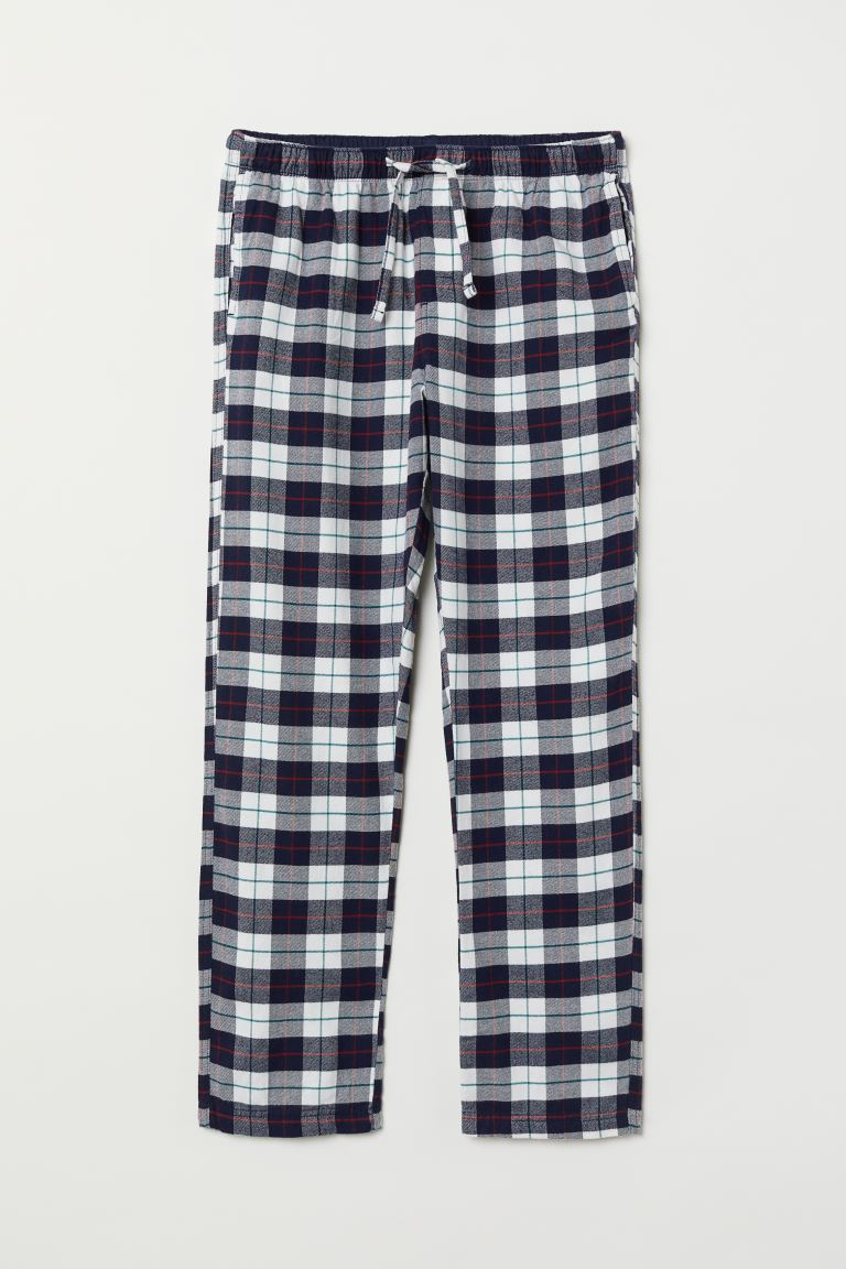 Flannel Pajama Pants - White/dark blue checked - Men | H&M US