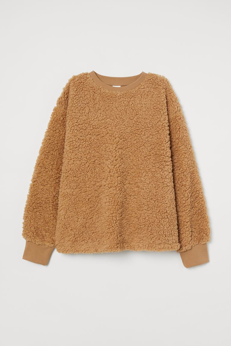 Wide faux shearling top - Beige - Ladies | H&M GB