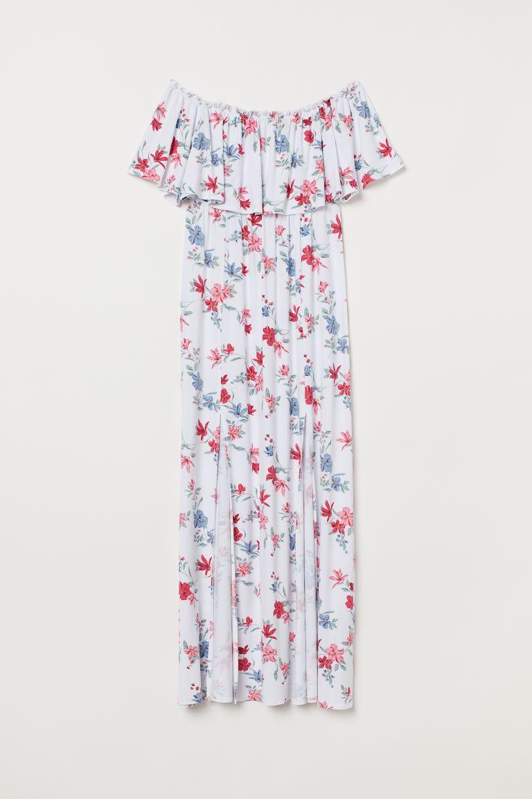 Ongebruikt Maxi-jurk met volant - Wit/bloemen - DAMES | H&M NL HG-66