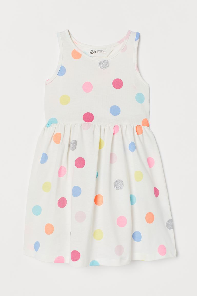 Patterned jersey dress - White/Spotted - Kids | H&M