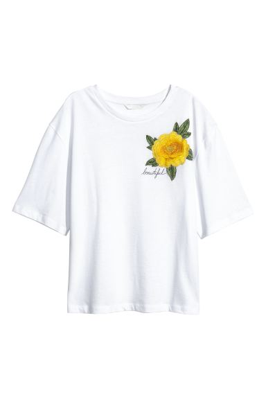Wide T-shirt - White/Flower - Ladies | H&M GB