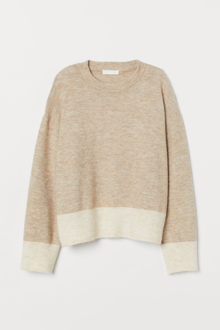 Knitted jumper - Beige marl -  | H&M IN