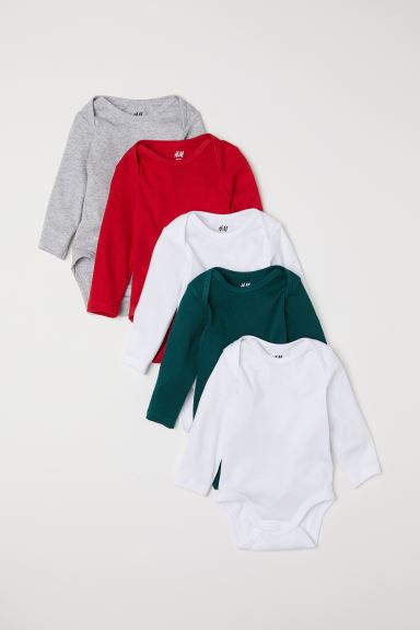 5-pack Bodysuits - Red/dark green - Kids | H&M US
