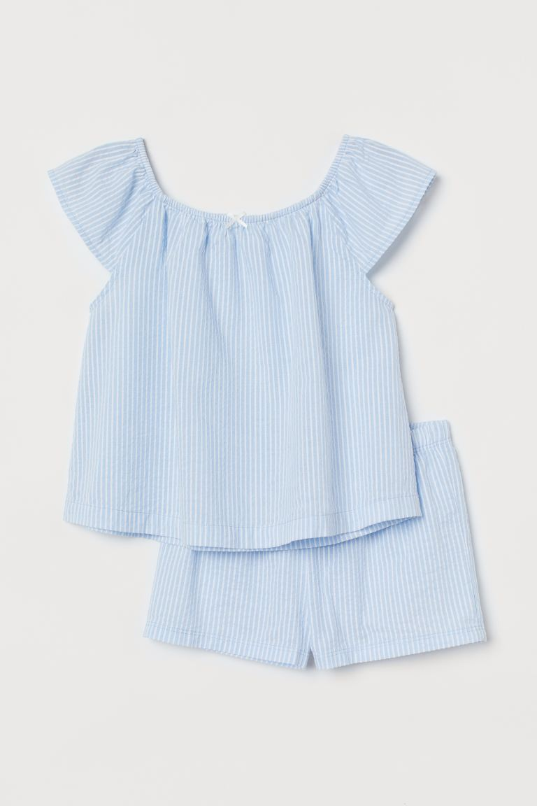 Seersucker pyjamas - Light blue/Striped - Kids | H&M