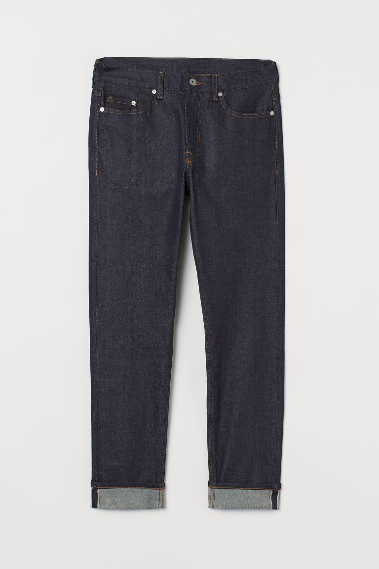 Slim Straight Selvedge Jeans - Dark blue - Men | H&M