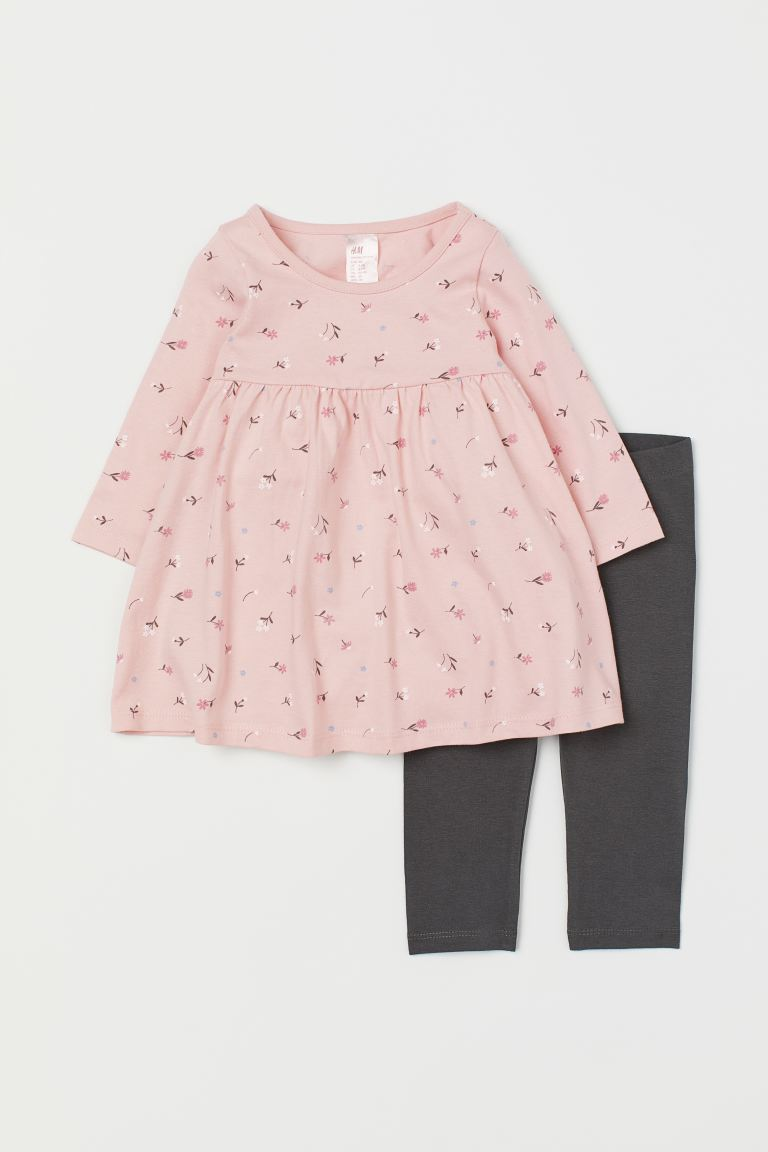 Jersey Dress and Leggings - Light pink/floral - Kids | H&M CA
