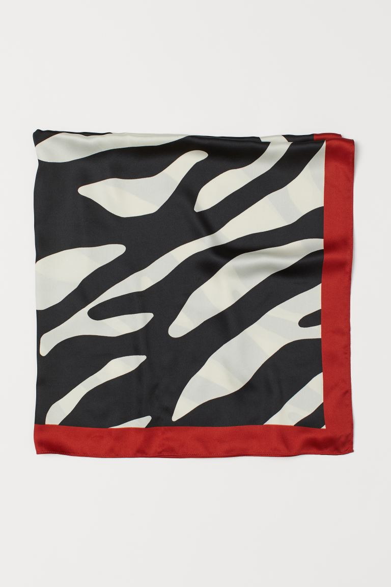 Patterned satin scarf - Rust red/Zebra print - Ladies | H&M IE