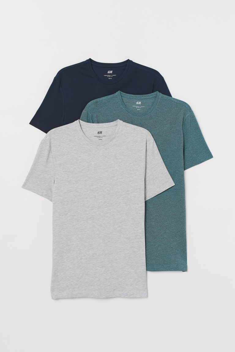 T-shirts Slim Fit, lot de 3 - Turquoise/gris chiné/bleu - HOMME | H&M BE