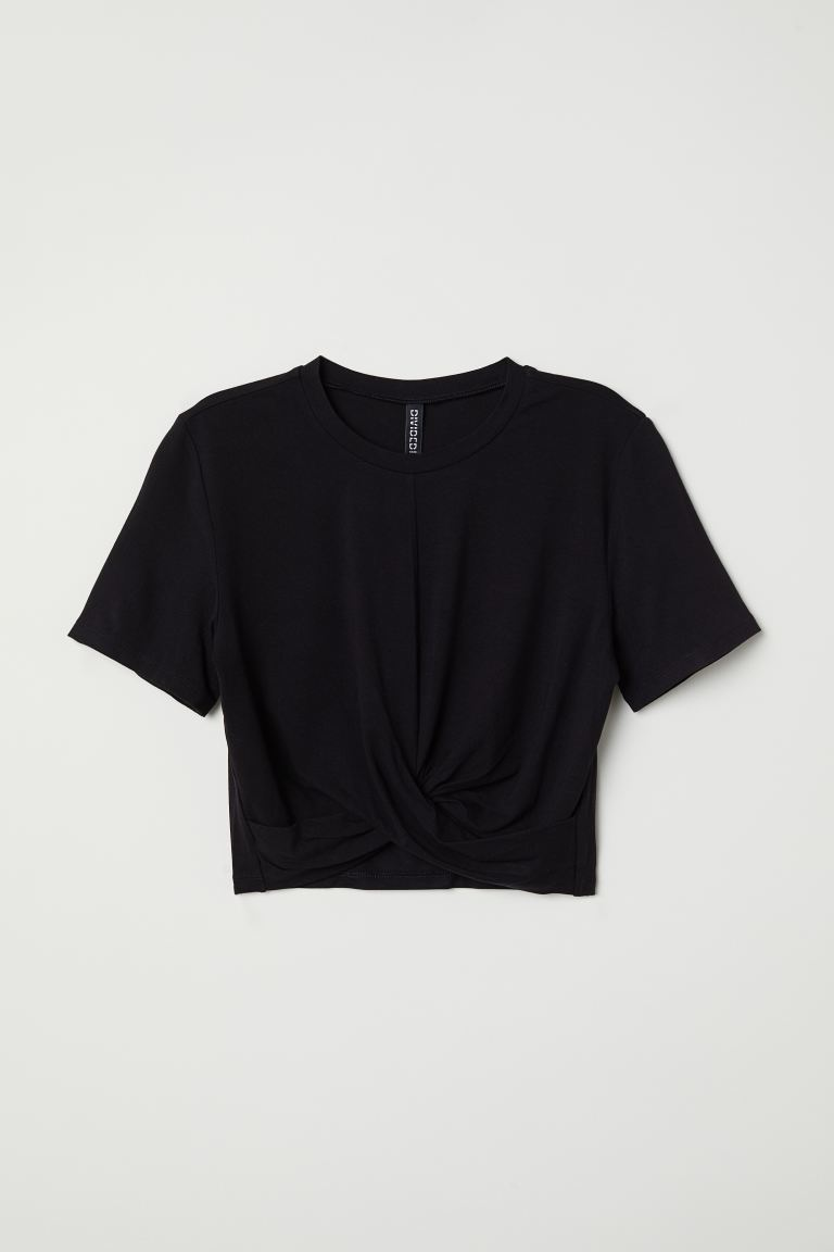 Jersey Top with Knot Detail - Black - Ladies | H&M US