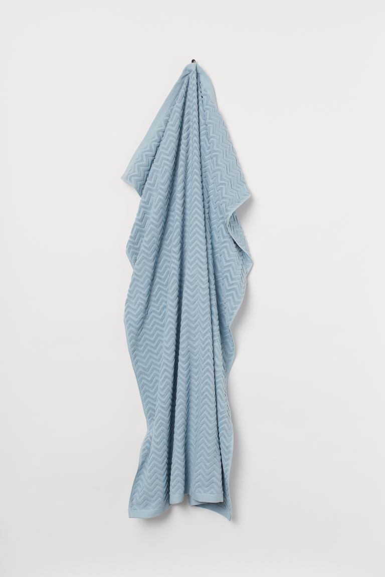 Jacquard-weave bath sheet - Light blue - Home All | H&M GB