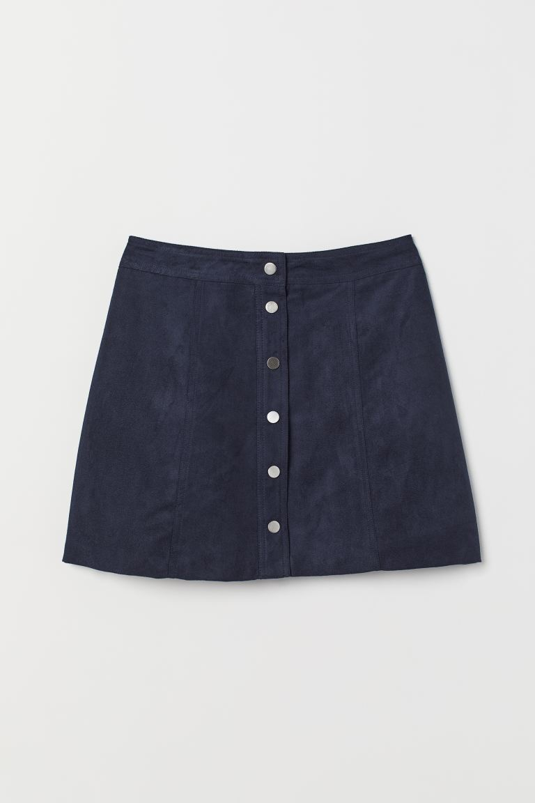 A-line skirt - Dark blue/Imitation suede - Ladies | H&M IE