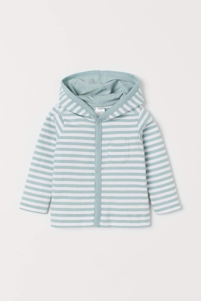 Jersey hooded cardigan - Mint green/White striped -  | H&M