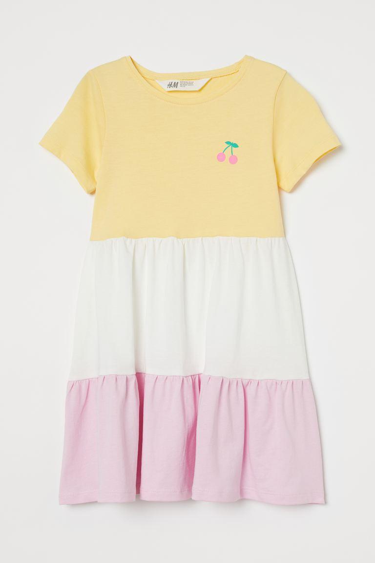 Cotton jersey dress - Yellow/White/Pink - Kids | H&M GB