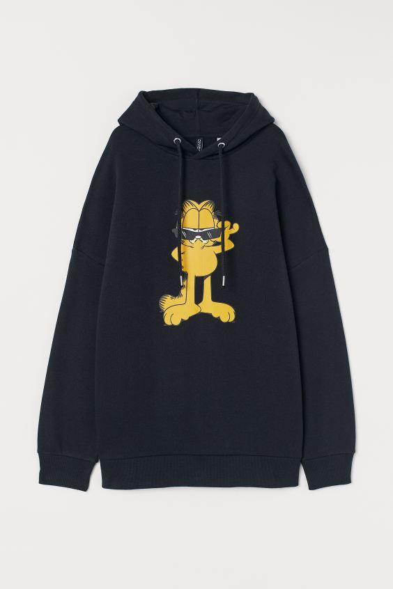 Oversized hooded top - Black/Garfield - Ladies | H&M 4
