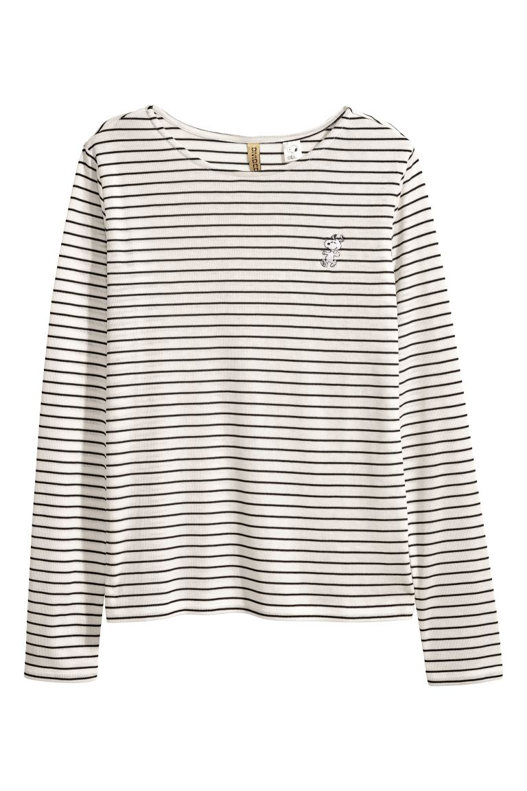 Long-sleeved Jersey Top - Black striped/Snoopy - Ladies | H&M CA