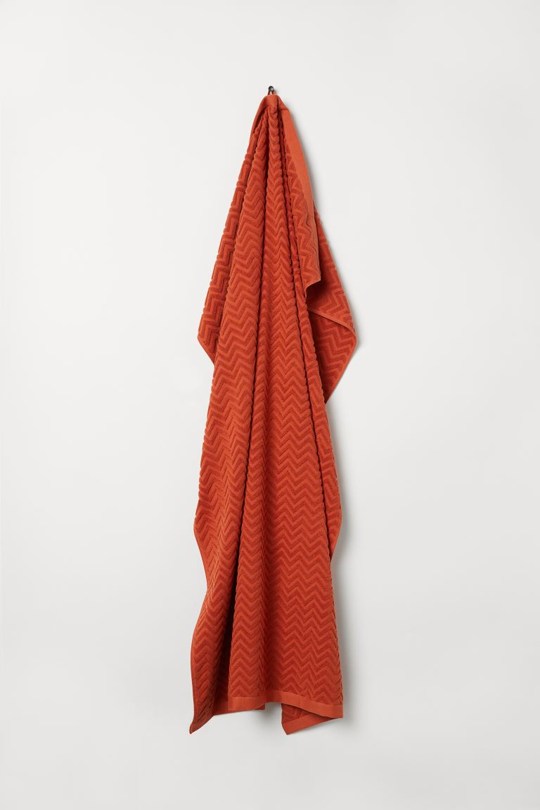Jacquard-weave bath sheet - Orange - Home All | H&M IE
